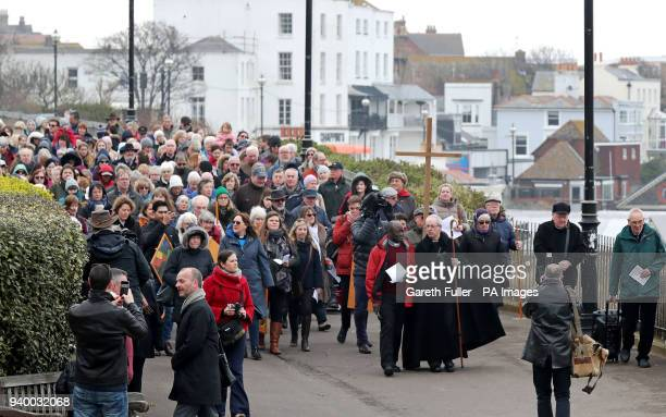 The Archbishop of Canterbury Justin Welby during the Good Friday March of Witness through Broadstairs in Kent