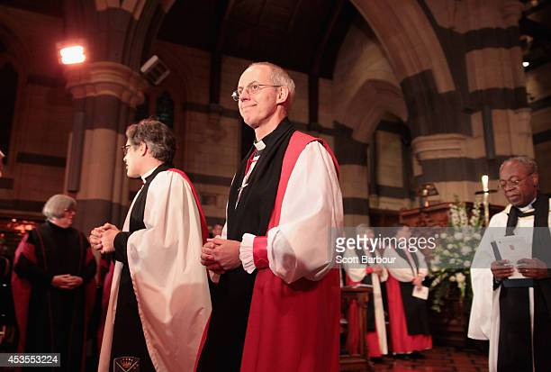 The Archbishop of Canterbury Justin Welby leaves the inauguration service of Melbourne Archbishop Philip Freier at St Paul's Cathedral on August 13...
