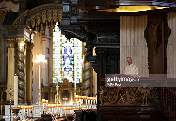 The Archbishop of Canterbury Justin Welby speaks during a sermon as part of a service to mark the 20th anniversary of the ordination of women as...