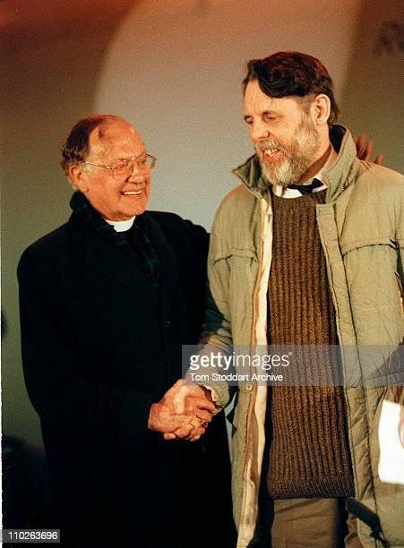 The Archbishop of Canterbury Robert Runcie welcoming back Terry Waite from captivity on his return to the UK after being held hostage in Beirut,...