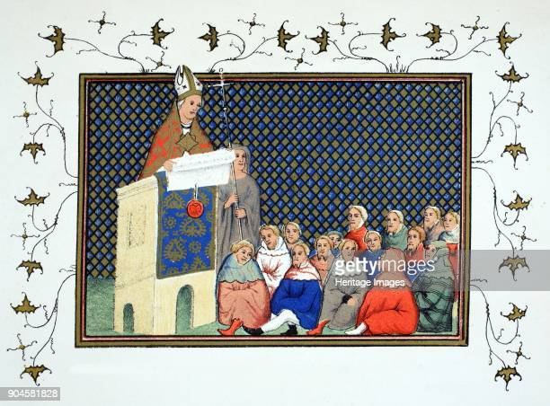 The Archbishop of Canterbury Thomas Arundel preaching to the English nobility against Richard II copy from 'Le Prinse et mort du roy Richart by Jean...