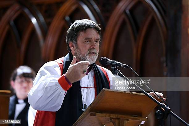 The Archbishop of New Zealand Philip Richardson welcomes the Archbishop of Canterbury Justin Welby at a service at Holy Sepulchre Church Grafton on...