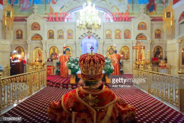 The Archbishop of the BakuAzerbaijan Diocese of the Russian Orthodox Church Father Alexander praying during an Easter service at the Holy...