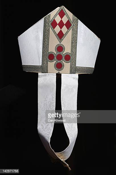 The Archbishop of Westminster Vincent Nichols' mitre , part of the new diocesan vestment, is pictured ahead of the annual Chrism Mass in Westminster...