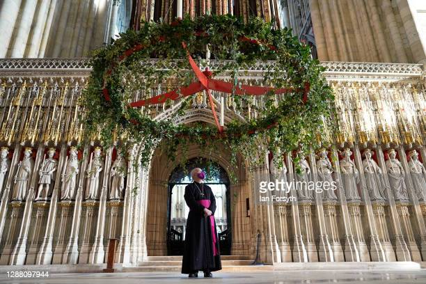 The Archbishop of York The Most Reverend Stephen Cottrell watches as the Advent wreath is raised into its traditional position below the central...