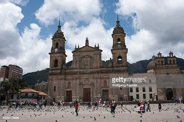 The Archbishopric Cathedral of Bogota on Plaza de Bolivar in La Candelaria the old town of Bogota Colombia