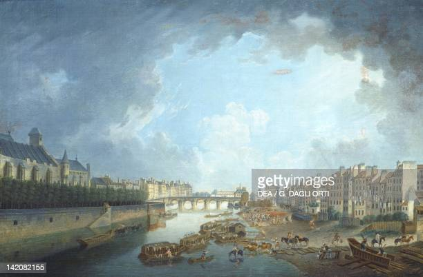 The Archbishop's diocese Tournelle bridge and Port SaintBernard viewed from City Hall in Paris by Pierre Antoine Demachy France 18th Century