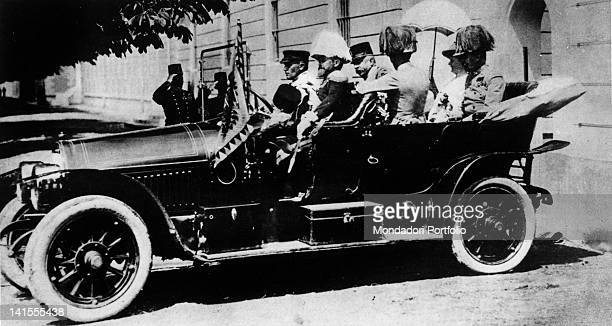 The Archduke and Archduchess of Austria Francis Ferdinand and Sophie Chotek sitting in their car moments before being assassinated by the...