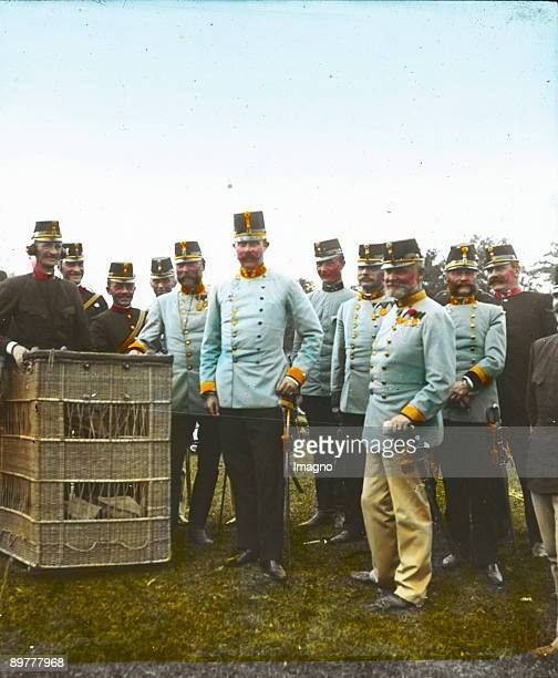 The Archduke Franz Ferdinand of AustriaEste heir presumptive to the AustroHungarian throne is visiting a hotair balloon Handcolored lantern slide...