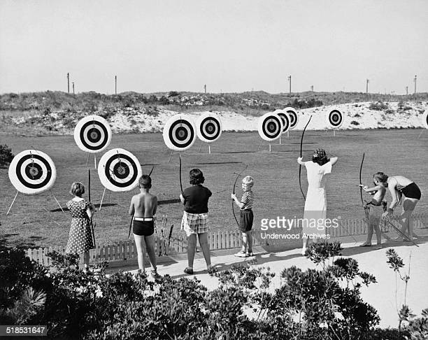 The archery range at Jones Beach State Park on Long Island Wantagh New York mid to late 1930s