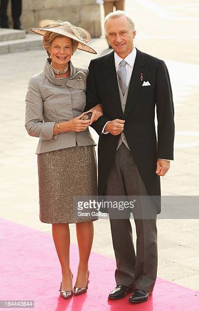 The Archi Duke Christian of Austria and Archi Duchess MarieAstrid of Austria attend the wedding ceremony of Prince Guillaume of Luxembourg and...