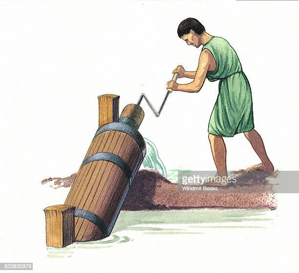 The Archimedes' screw lifted water by forcing it up a pipe Archimedes designed it to pump water out of ships Today it is still used to pump water out...