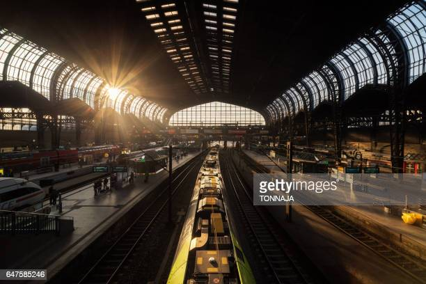 the architecture of hamburg hauptbahnhof - railroad station stock pictures, royalty-free photos & images