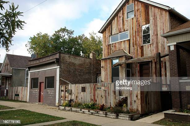 The Archive Library building at Dorchester Projects is shown in Chicago US in this undated photo Theaster Gates reclad the abandoned house in...
