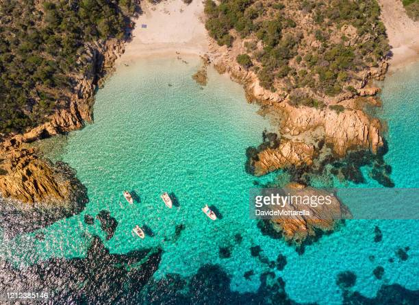 the archpleago of the magdalene from above - sardinia stock pictures, royalty-free photos & images