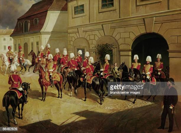 """The """"Arcieren-Leibgarde"""", Emperor Franz Joseph's guard regiment, in front of their barracks in Rennweg street, Vienna. Oil by F. Von Zellenberg,..."""