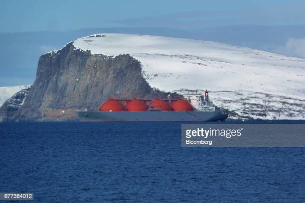 The Arctic Explorer LNG tanker sits at anchor in a fjord outside Hammerfest northern Norway on Monday April 24 2017 Norway is betting the...