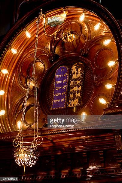 The area above the altar area featuring the Eternal Flame and the Ten Commandments inside the Eldridge St Synagogue is seen December 2 2007 on the...