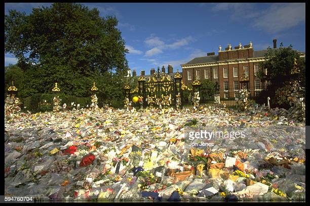 The area around Kensington Palace covered with flowers shows the great popularity of Diana