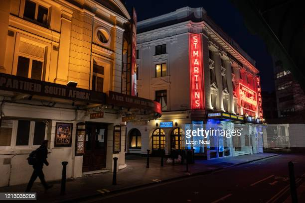 The area around St Martin's theatre remains deserted following the announcement of the suspension of many performances in the West End on March 17,...