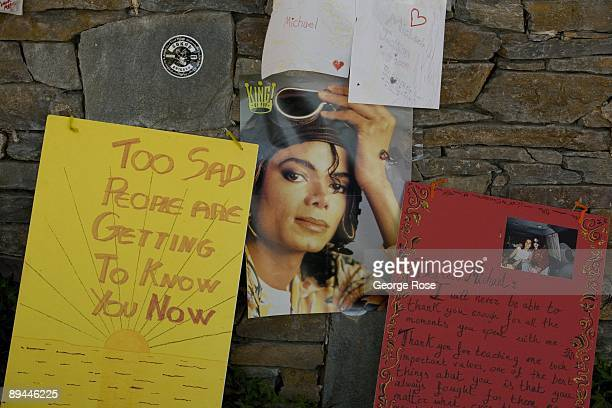 The area around the gates to singer Michael Jackson's Neverland Ranch have been turned into a shrine for the deceased performer as seen in this 2009...