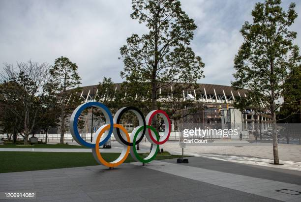 The area around the Olympic Rings and Olympic Stadium is pictured visibly quiet on March 13, 2020 in Tokyo, Japan. Excluding the Diamond Princess...