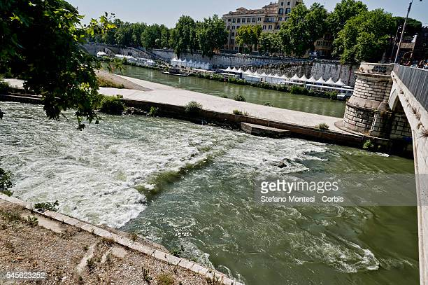 The area in front of the Tiber Island Tiberina where the tent of Alessia Pannachioli and Massimo Galioto lies just under the Ponte Garibaldi in the...