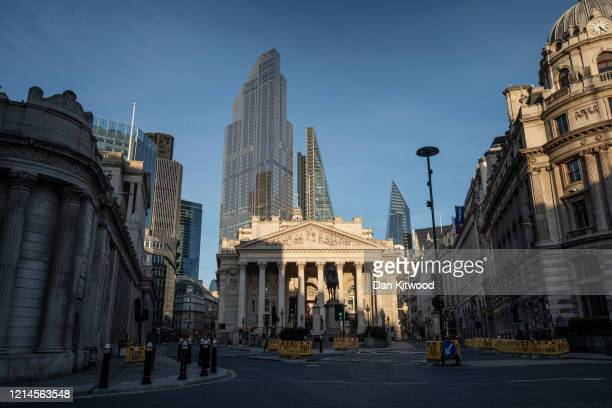 The area outside the Bank of England on March 24 2020 in London England British Prime Minister Boris Johnson announced strict lockdown measures...