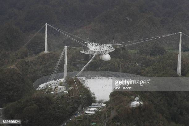 The Arecibo Observatory is seen after it was hit by Hurricane Maria on September 29 2017 in Arecibo Puerto Rico Puerto Rico experienced widespread...