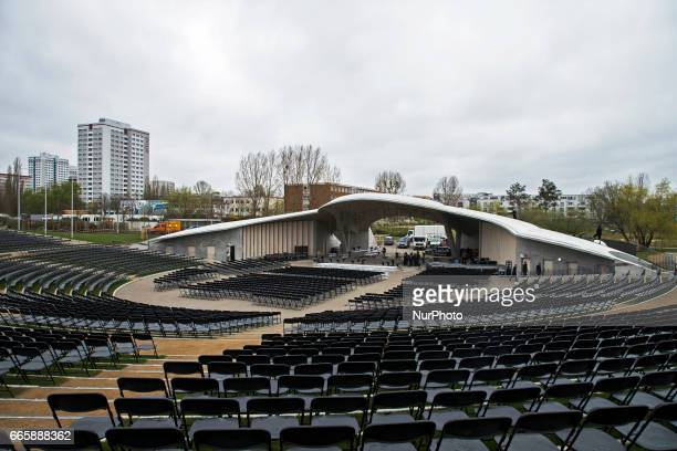 The arena is pictured during a press preview of the IGA 2017 in Berlin Germany on April 7 2017 Last arrangements are being done for the exhibition...