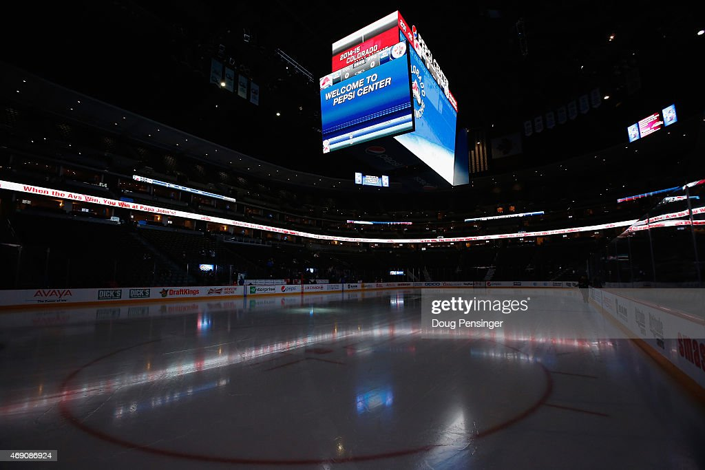 The arena is prepared for the Winnipeg Jets to face the Colorado Avalanche at Pepsi Center on April 9, 2015 in Denver, Colorado.