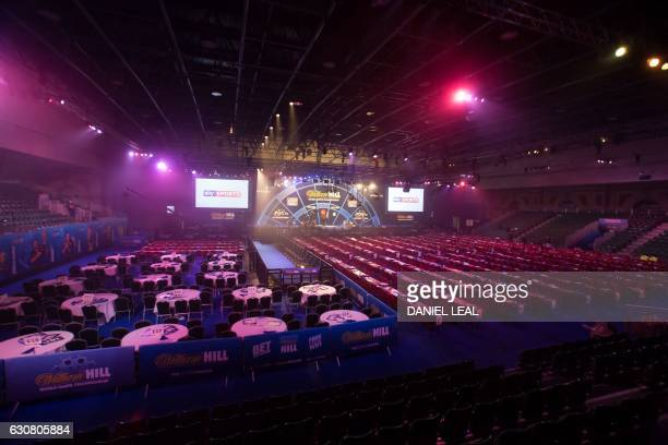 The arena is ready for the spectators ahead of the PDC World Championship darts final between Netherlands' Michael van Gerwen and Scotland's Gary...