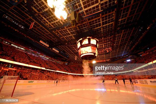 The arena lights up before Game One of the Western Conference First Round during the 2019 NHL Stanley Cup Playoffs between the Calgary Flames and the...