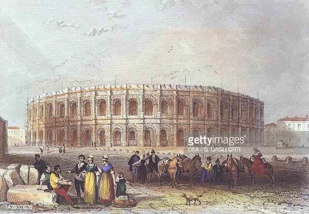 The Arena of Nimes coloured engraving France 19th Century Paris Bibliothèque Des Arts Decoratifs