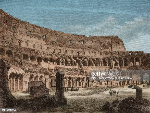 The arena of the Colosseum drawing by Emile Therond from a photograph from Rome by Francis Wey Italy from Il Giro del mondo Journal of geography...