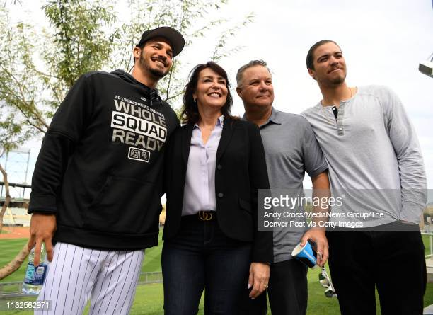 The Arenado family from left to right Nolan Nolan's mother Millie father Fernando and brother Jonah after Nolan's press conference at Salt River...