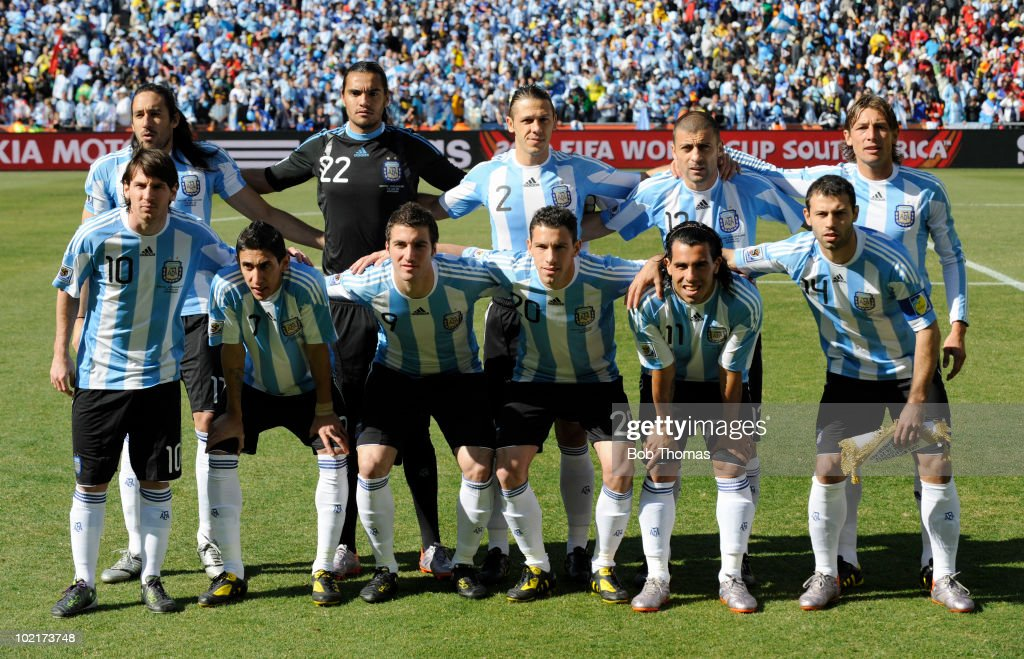 The Argenina team pose for a team group before the start of the 2010 FIFA World Cup South Africa Group B match between Argentina and South Korea at Soccer City Stadium on June 17, 2010 in Johannesburg, South Africa. Pictured are, back row (L-R) Jonas Gutierrez, Sergio Romero, Martin Demichelis, Walter Samuel and Gabriel Heinze; front row (L-R) Lionel Messi, Angel Di Maria, Gonzalo Higuain, Maxi Rodriguez, Carlos Tevez and Carlos Mascherano. Argentina won the match 4-1.