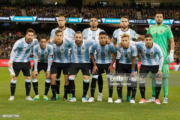 The Argentia team pose for a photo before the Brasil Global Tour match between Brazil and Argentina at Melbourne Cricket Ground on June 9 2017 in...