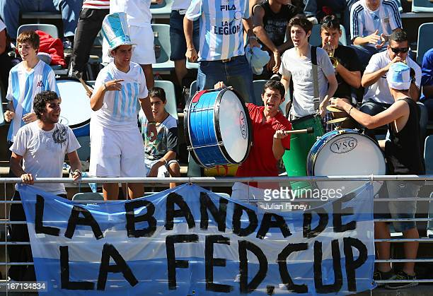 The Argentina fans make some noise in the match between Laura Robson of Great Britain and Paula Ormaechea of Argentina during day two of the Fed Cup...