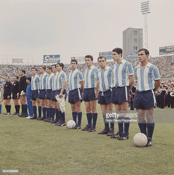 The Argentina National football team line up before their international game against Italy in the Stadio Comunale in Turin Italy on 22nd June 1966...
