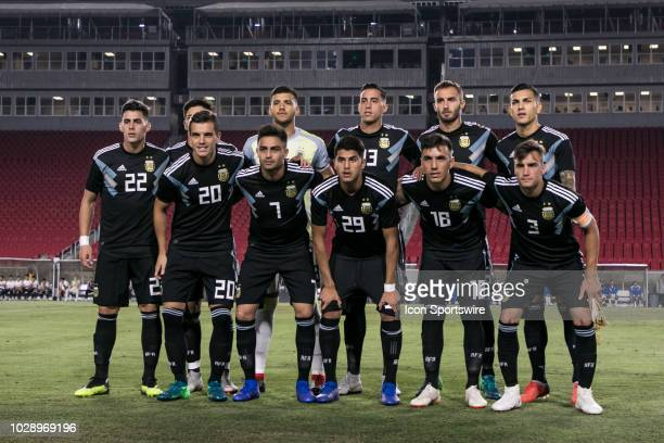 The Argentina National Soccer Team poses for a prematch photo before a friendly international soccer match between Guatemala and Argentina on...
