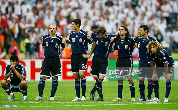 The Argentina players look on during a penalty shootout during the FIFA World Cup Germany 2006 Quarterfinal match between Germany and Argentina...