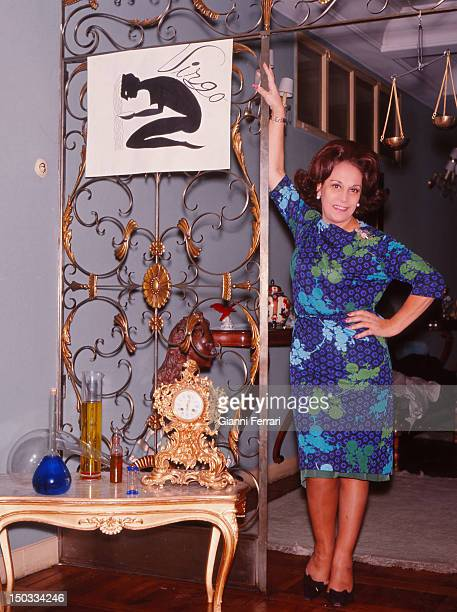 The Argentina singer Celia Gamez with the objects of her zodiac sign Madrid Spain