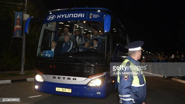 The Argentina squad arrive to their base camp in Bronnitsy near Moscow Russia on June 10 ahead of the FIFA World Cup Russia Argentina faces Iceland...