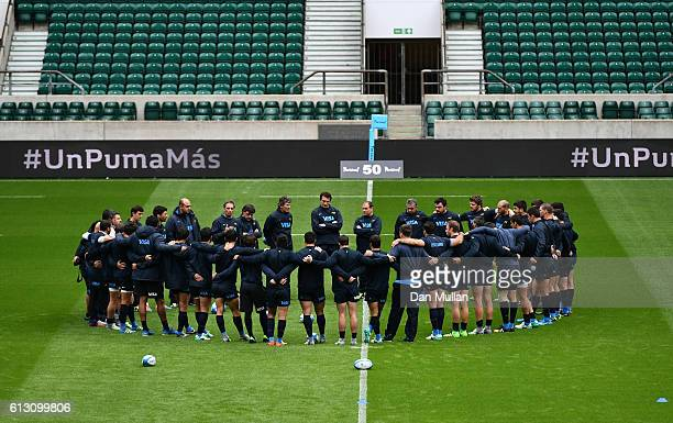 The Argentina squad huddle up during the Argentina Captain's Run ahead of The Rugby Championship match against Australia at Twickenham Stadium on...