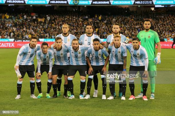 The Argentina starting team captain Lionel Messi Angel Di Maria Paulo Dybala Jonatan Maidana Gonzalo Higuain Gabriel Mercado Jose Gomez Nicolas...