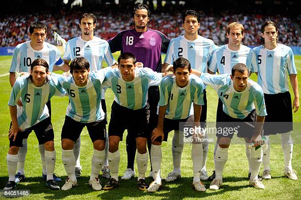 The Argentina team group prior to the start of the Men's Gold Medal football match between Nigeria and Argentina at the National Stadium on Day 15 of...