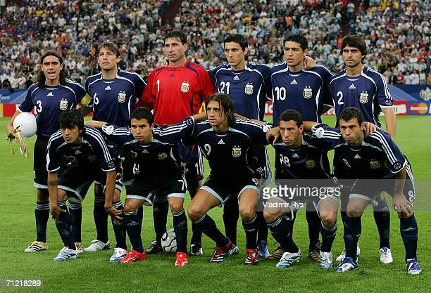 The Argentina team line up before the FIFA World Cup Germany 2006 Group C match between Argentina and Serbia Montenegro at the Stadium Gelsenkirchen...