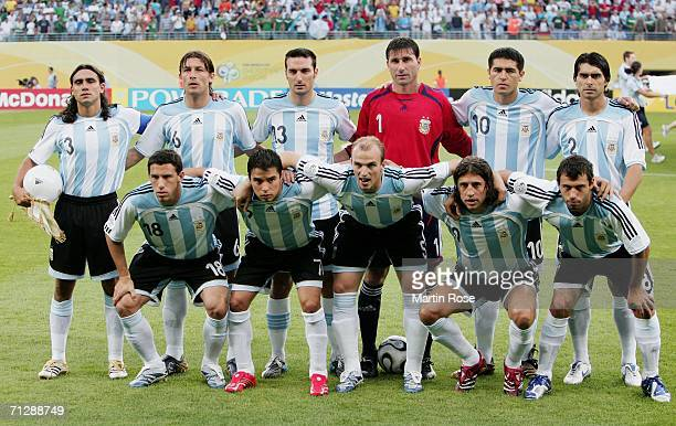 The Argentina team line up for a group photo prior to the FIFA World Cup Germany 2006 Round of 16 match between Argentina and Mexico played at the...