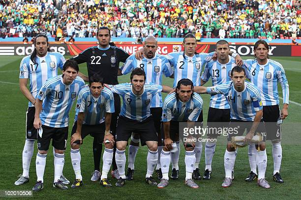 The Argentina team line up for a group shot during the 2010 FIFA World Cup South Africa Group B match between Argentina and Nigeria at Ellis Park...